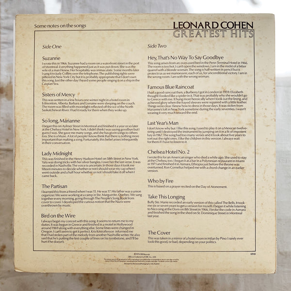 Leonard Cohen / Greatest Hits LP