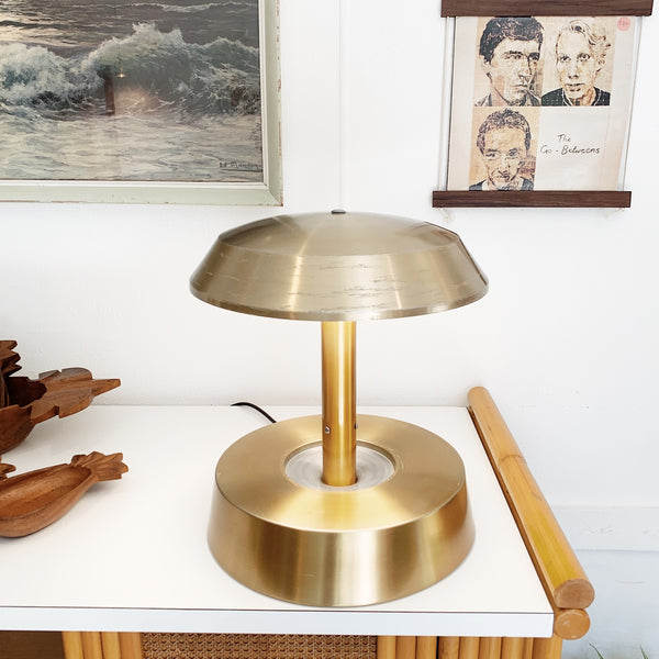 Louis Kalff Style White Gold Anodised Mushroom Lamp