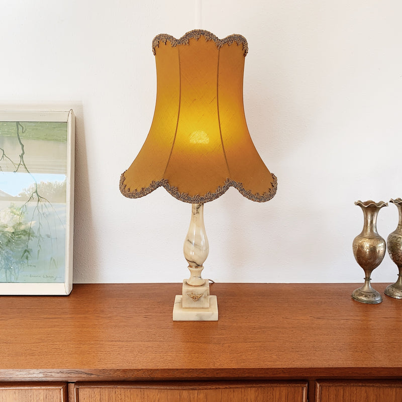 Marble Lamp with Embellished Pagoda Shade / Ginger