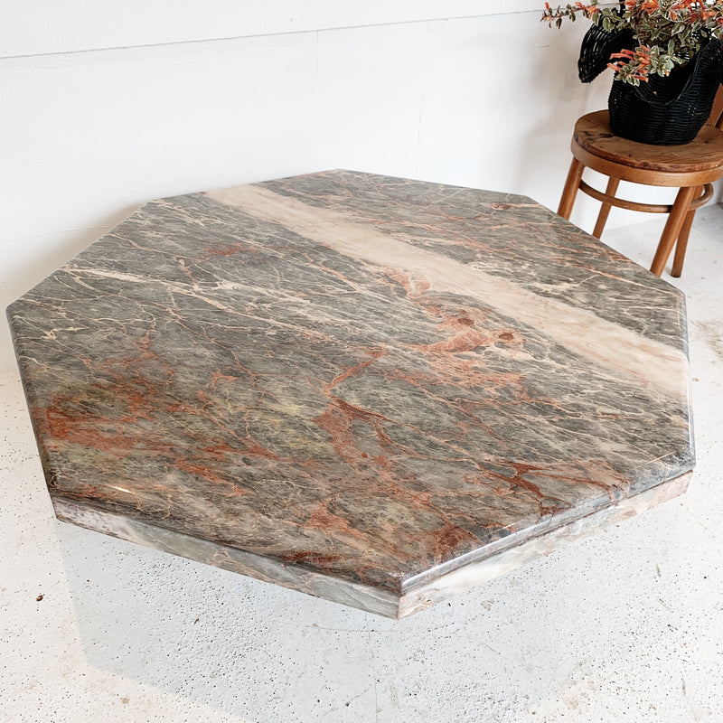 Mid-Century Modern Octagonal Marble Coffee Table