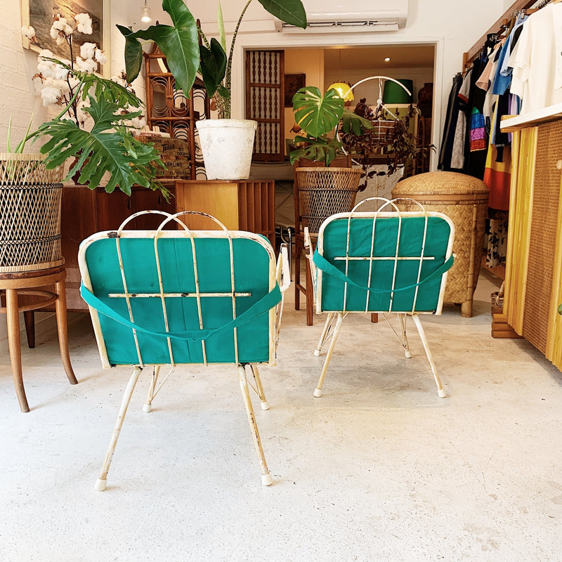 Mid Century Garden Chairs with Seabed Upholstered Cushies