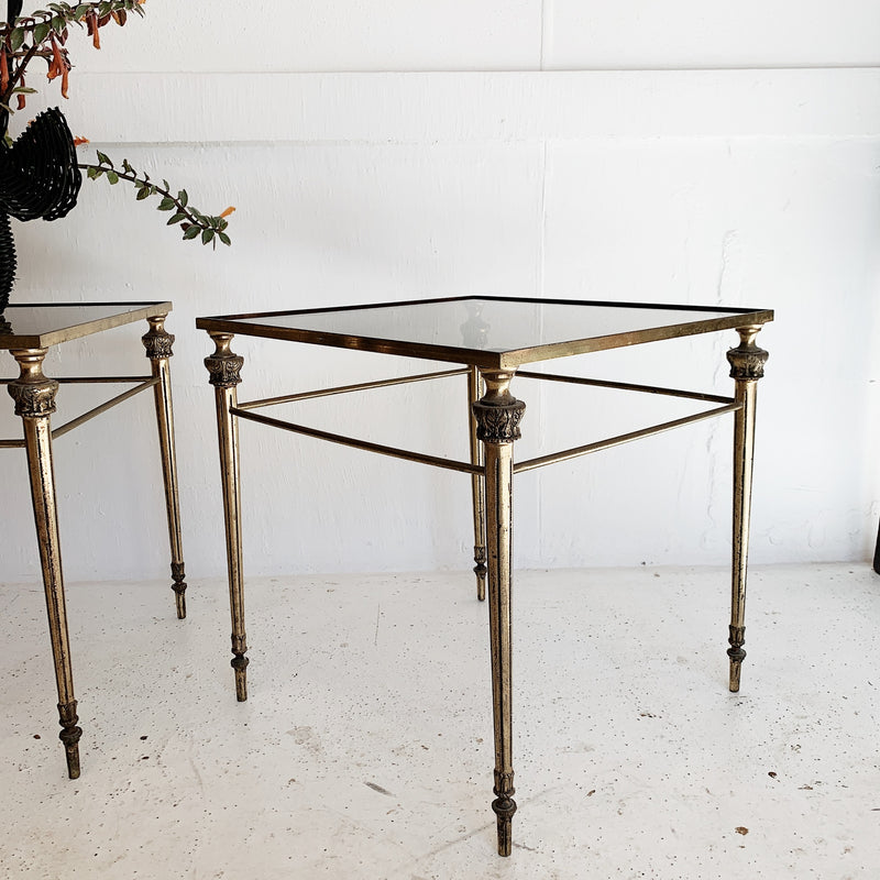Ornate Italian Solid Brass & Smoke Glass Side Tables