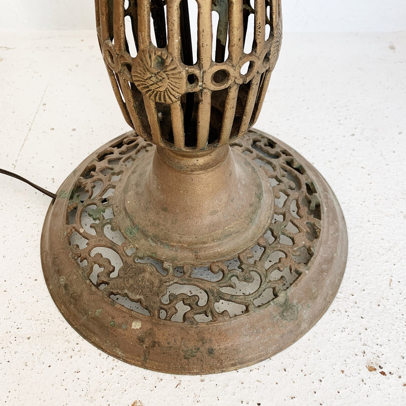 Pierced Brass Floor Lamp w/ Cream and Gold Drum Shade