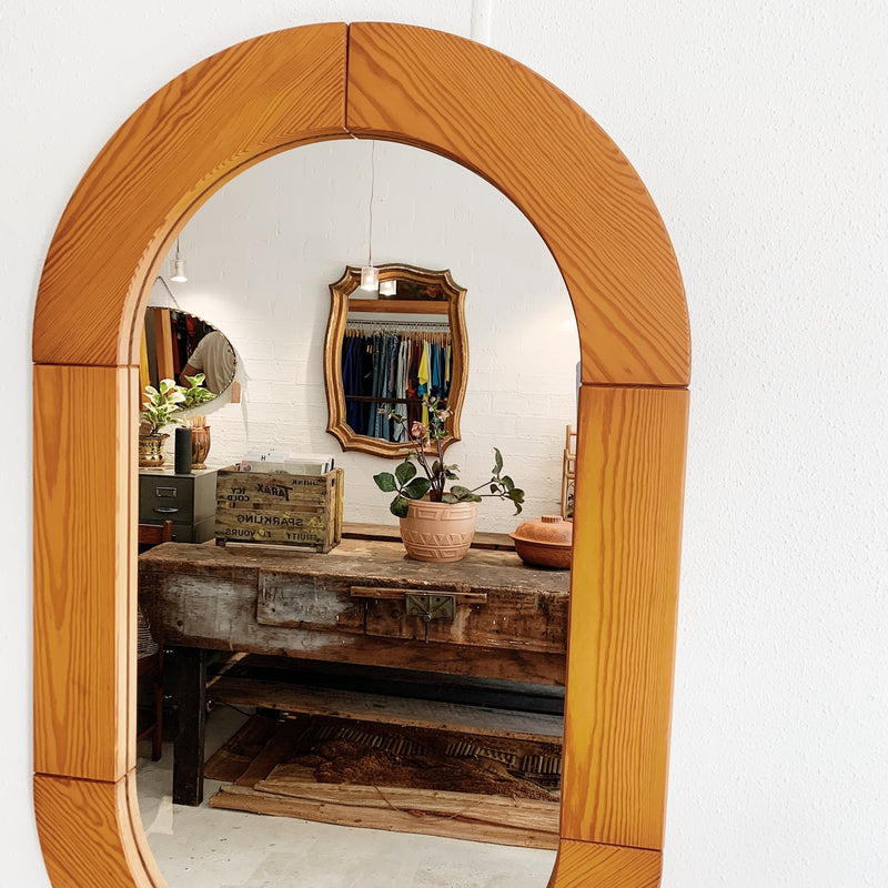 Scandi-Style Solid Pine Oval Mirror