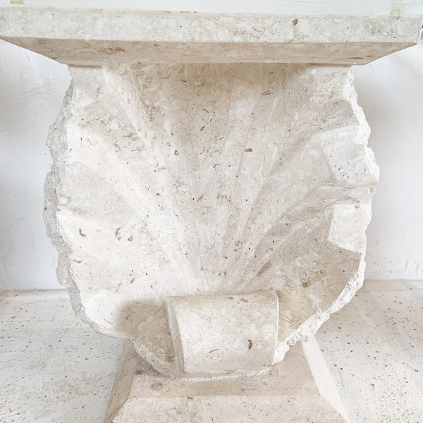 Shell Sculpted Travertine Stone Side Table (2 available)