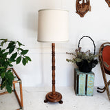 Turned Wood Floor Lamp with Textured Linen Shade
