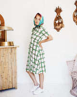 Vintage 70s Button-up Collared Horse Shoe Dress