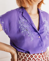 Vintage 80s Chiffon Embroidered Chinese Blouse