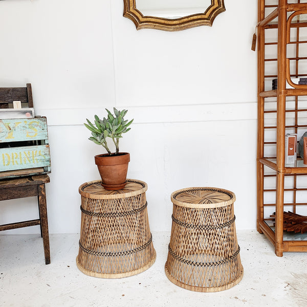 Vintage Cane Peacock Nesting  Side Tables / Planters