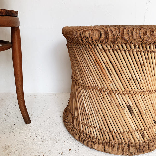 Vintage Cane & Jute Hand Woven Stool