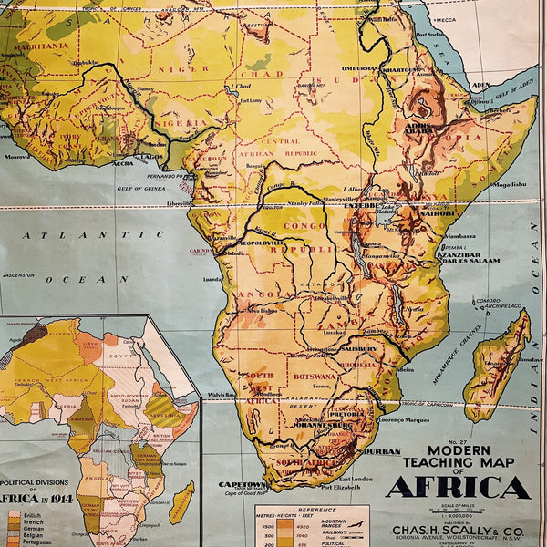 Vintage Chas H Scally & Co. Wall Hanging Teaching Map Of Africa