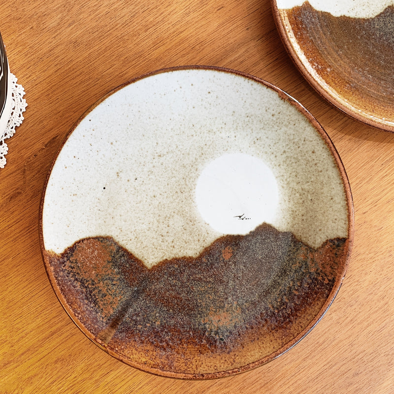 Vintage Pair of Sunset Stoneware Dinner Plates