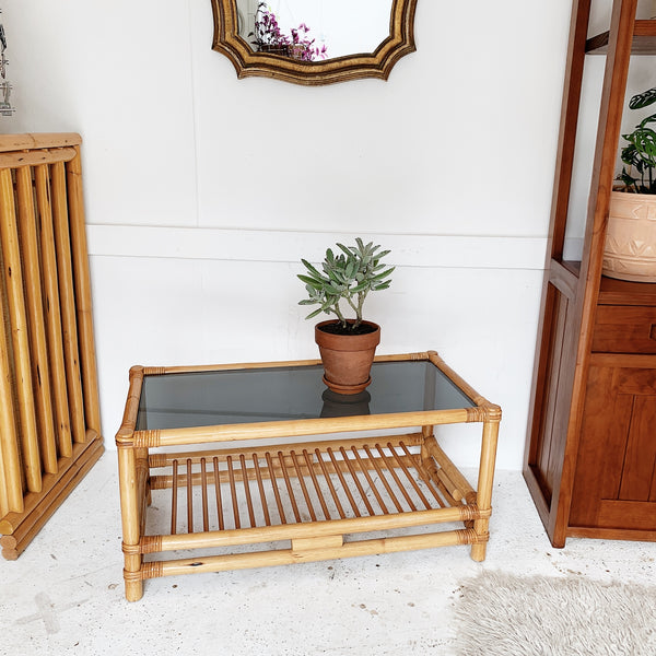 Vintage Rattan Coffee Table with Dark Smoked Glass Top