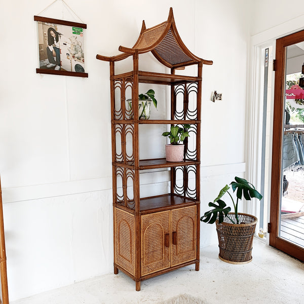 Vintage Rattan & Webbed Cane Temple Top Wall Unit