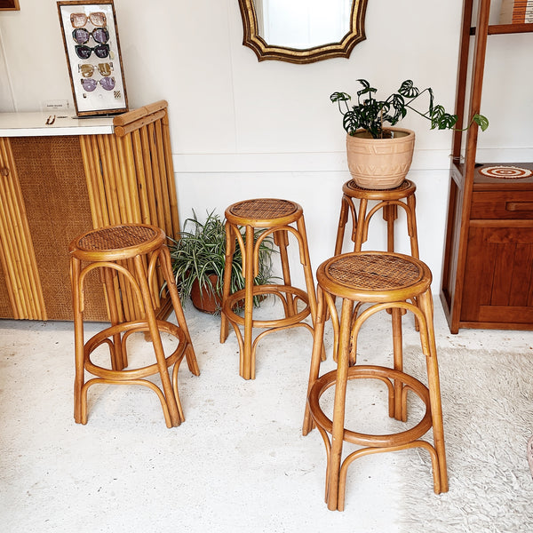 Vintage Rattan & Woven Cane Stools (4 available)