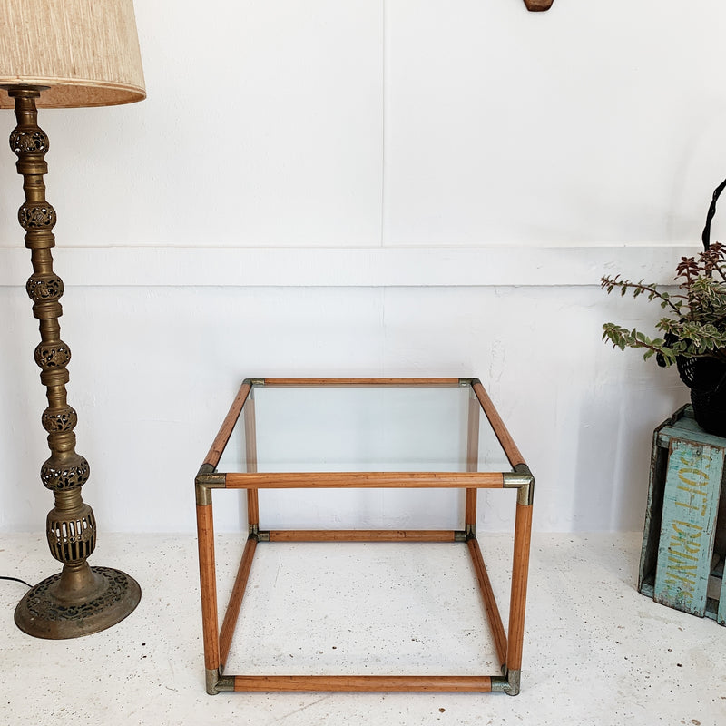 Glass Top Wooden Cube Side Table
