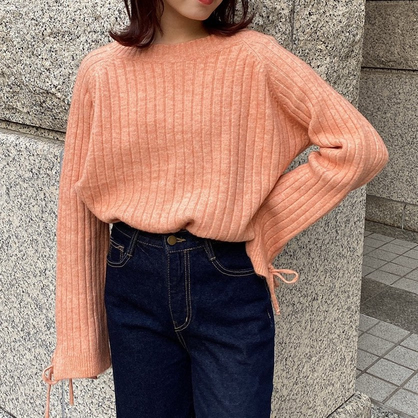 sleeve ribbon rib knit