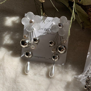 【m-world】Frosted glass flower gray pearl