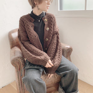 【Isn't She?】cable knit cardigan (4977C)