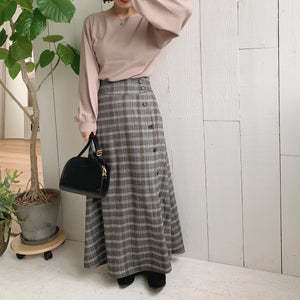 【Isn't She?】check flare button skirt (3062M)