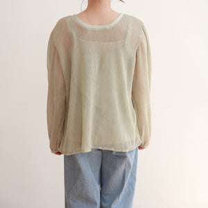 【Isn't She?】crinkle assorted button blouse (4749C)