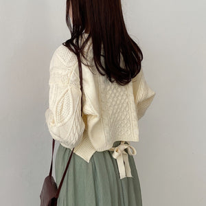 back ribbon short knit