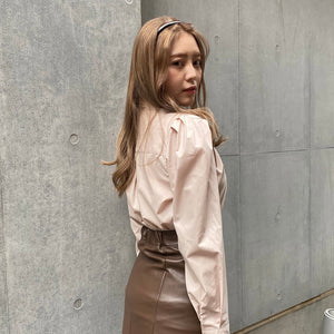 pink beige collar shirt