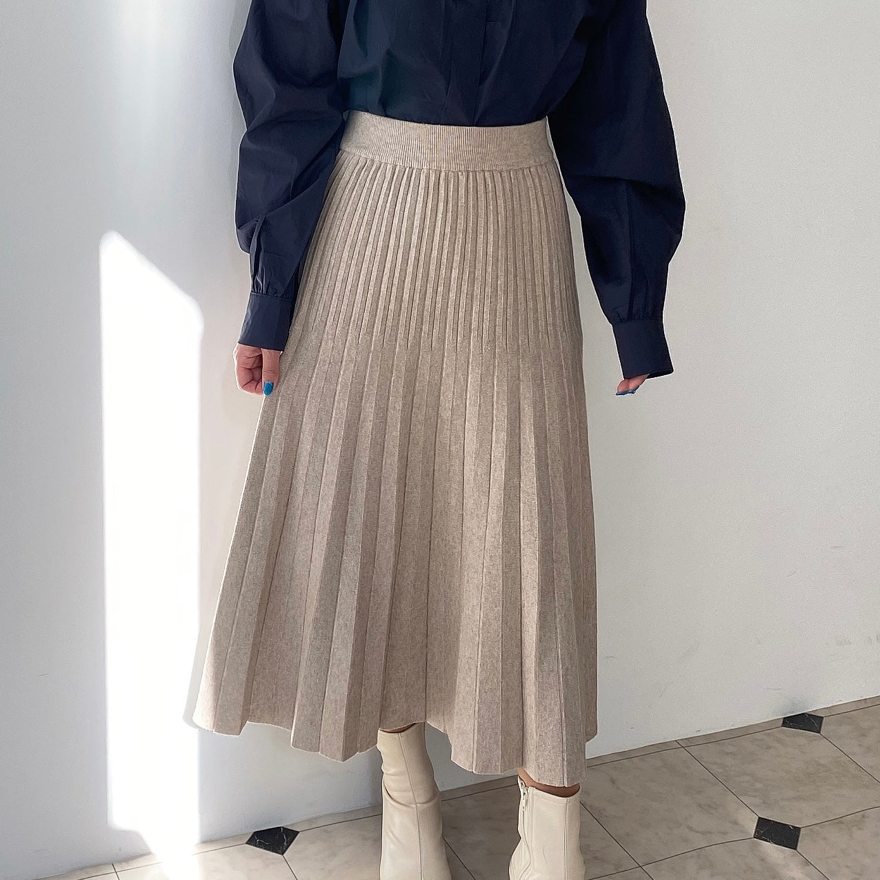 knit flare pleats skirt