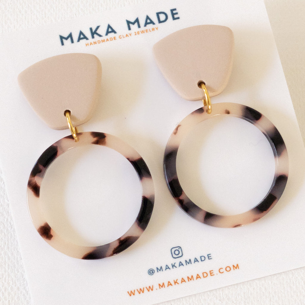 Small Hoops // Sand Tortoise Shell