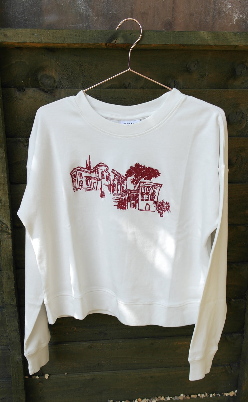 Scenic Embroidery Crop Sweat front