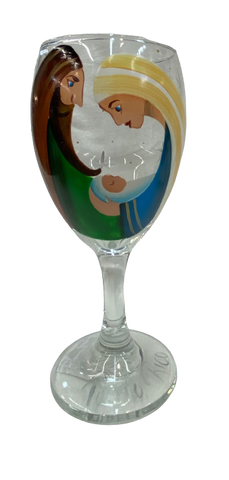HAND PAINTED  NATIVITY WINE GLASSES