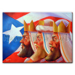 Three Kings Painting with Puerto rican flag