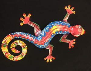 Painted Metal Gecko Wall Hanging