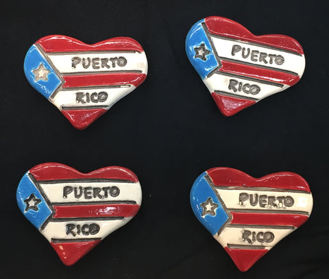 Ceramic magnets flag heart