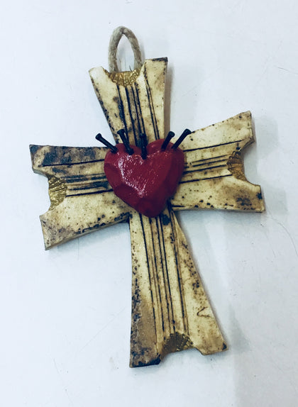 Ceramic cross with heart