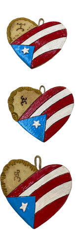 Ceramic heart Flag Puerto Rico