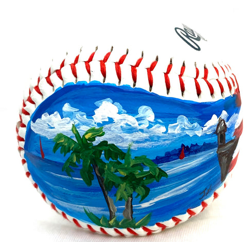 Painted baseball palm trees