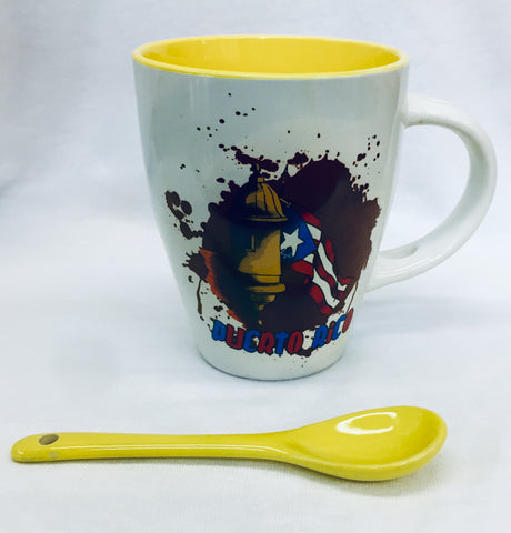 Ceramic mug with spoon garita bandera