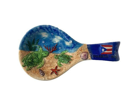 Ceramic spoon rest 3D turtle Puerto Rico