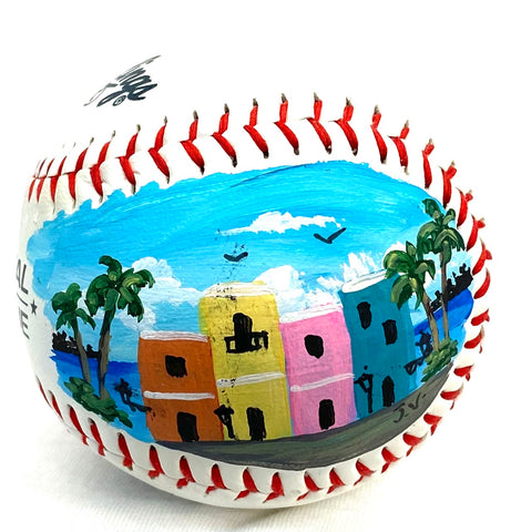 Painted baseball casita