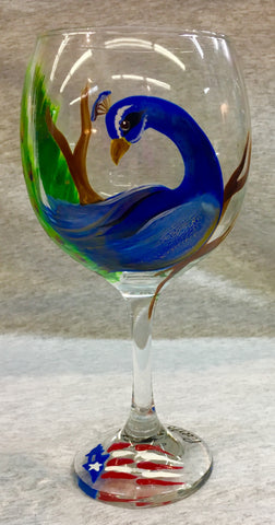 Hand painted Peacock wine glasses
