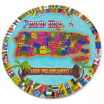Souvenirs plate colorful map