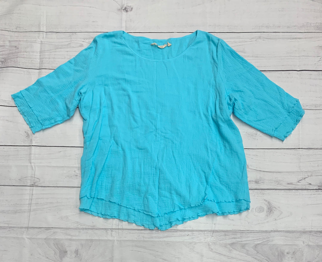 Primary Photo - BRAND: SOFT SURROUNDINGS <BR>STYLE: TOP SHORT SLEEVE <BR>COLOR: BLUE <BR>SIZE: 2X <BR>SKU: 196-19681-70941