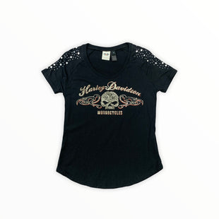 Primary Photo - BRAND: HARLEY DAVIDSON STYLE: TOP SHORT SLEEVE COLOR: BLACK SIZE: M SKU: 196-196135-2176