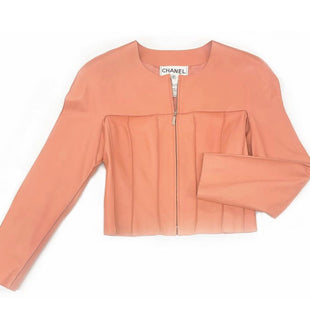 Primary Photo - BRAND: CHANELSTYLE: TOP DESIGNERCOLOR: CORALSIZE: XSOTHER INFO: EUR 36 LAMBSKIN LEATHER JACKETSKU: 196-14511-44090