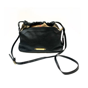 Primary Photo - BRAND: BURBERRY STYLE: HANDBAG DESIGNER COLOR: BLACK SIZE: SMALL OTHER INFO: LITTLE CRUSH SKU: 196-19681-71941. BLACK LEATHER AND BRIDLE HOUSE CHECK CANVAS LITTLE CRUSH CROSSBODY. HEIGHT 8.5 WIDTH 3.75 LENGTH 10 . HANDLE DROP 20 (ADJUSTABLE).