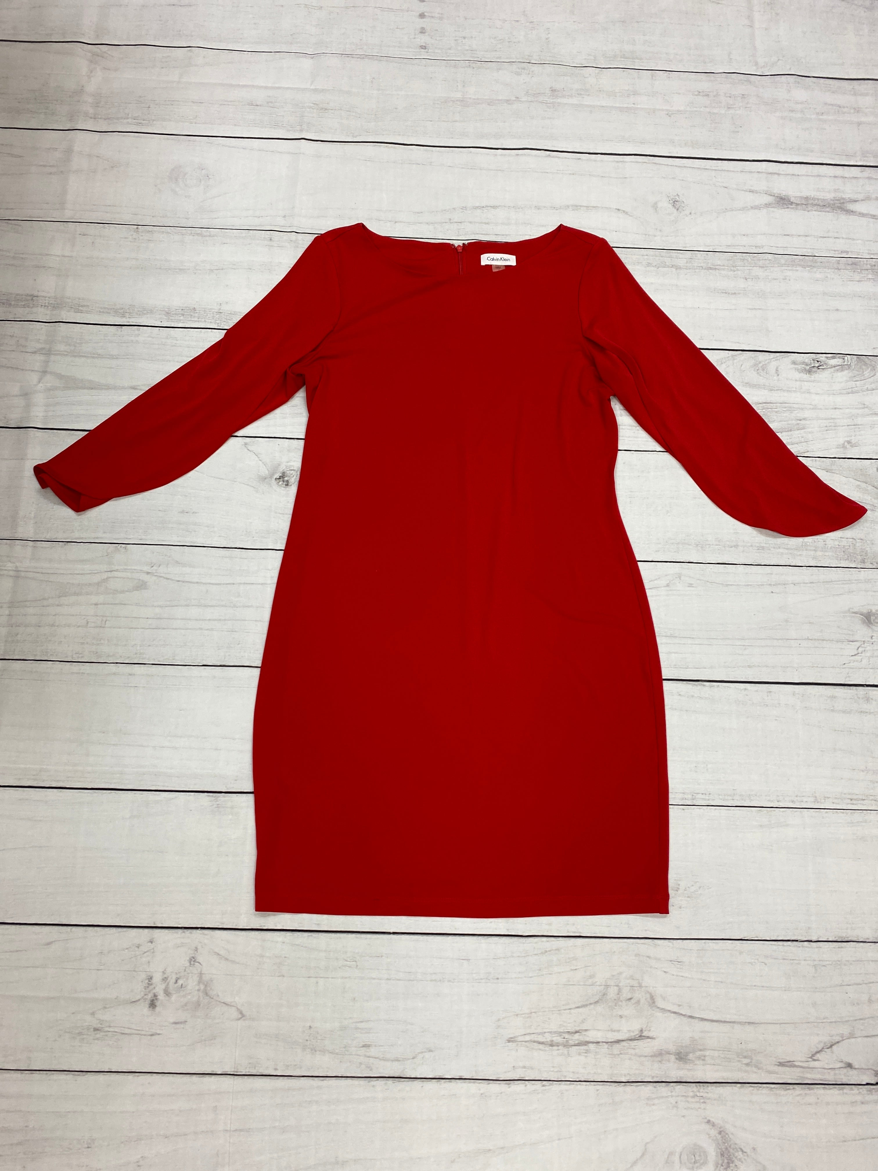 Primary Photo - BRAND: CALVIN KLEIN <BR>STYLE: DRESS SHORT LONG SLEEVE <BR>COLOR: RED <BR>SIZE: M <BR>SKU: 196-19681-70991