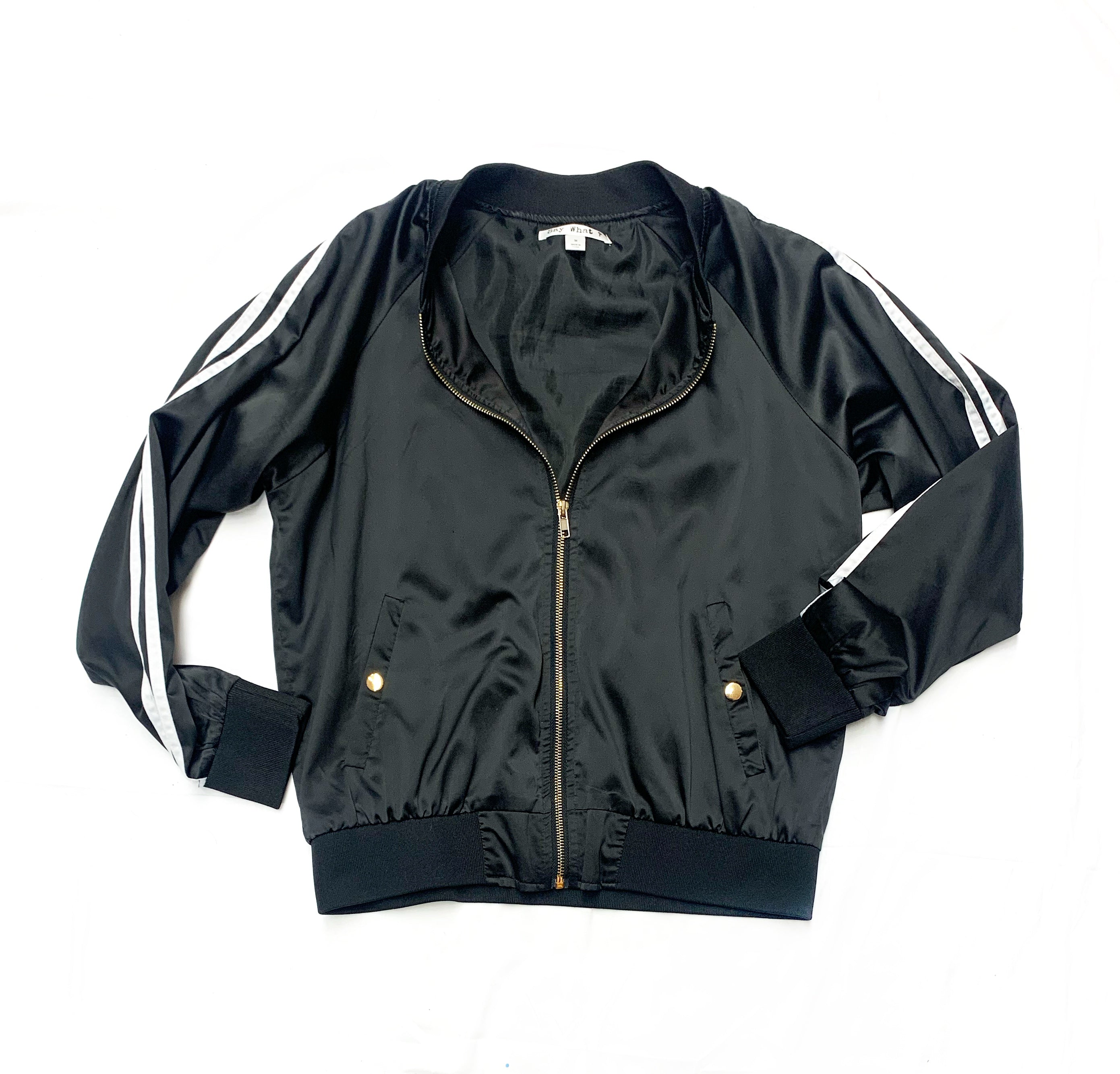 Primary Photo - BRAND: SAY WHAT<BR>STYLE: JACKET OUTDOOR<BR>COLOR: BLACK WHITE<BR>SIZE: M<BR>SKU: 196-196112-45886