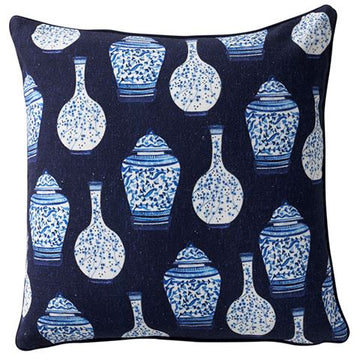 Oriental Jars Cushion Navy