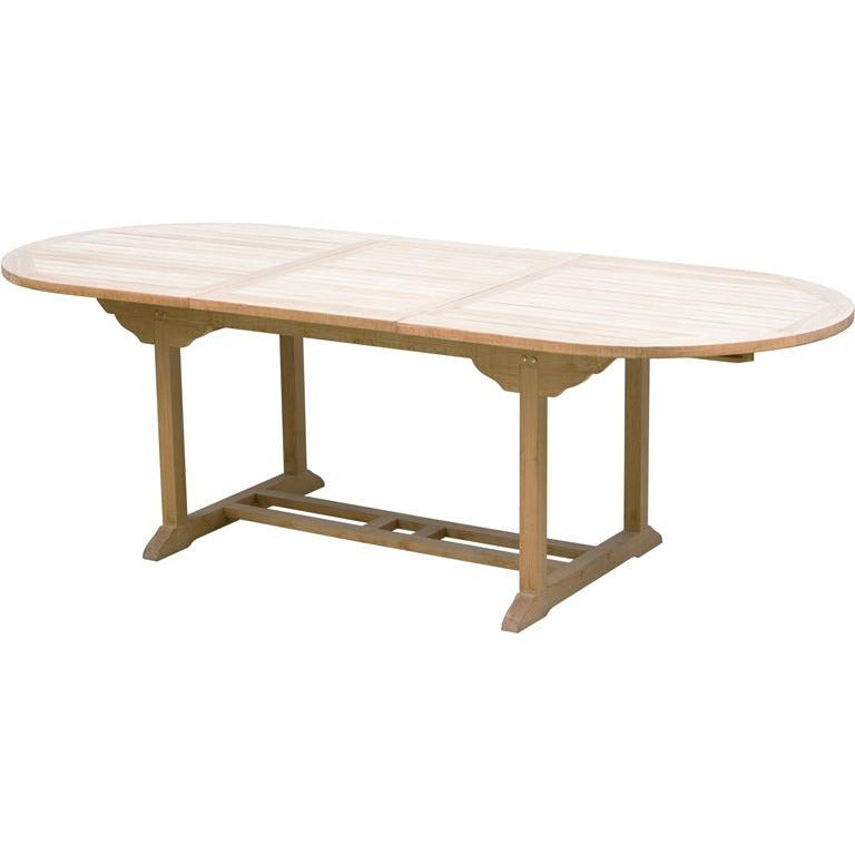 EXTENDABLE OVAL TEAK TABLE 2.4M X 1M